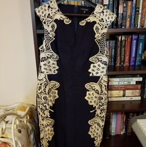 Navy Blue Sheath Dress with Lace Appliques